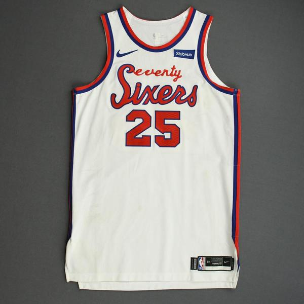 Image of Ben Simmons - Philadelphia 76ers - Game-Worn Classic Edition 1970-71 Home Jersey - Triple-Double - 2019-20 Season