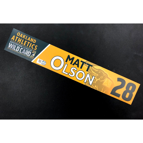 Photo of Game-Used 2020 AL Wild Card Locker Nameplate - Matt Olson