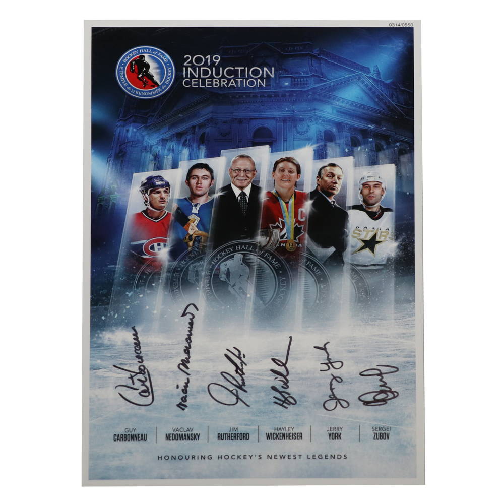 Carbonneau, Zubov, Wickenheiser, Nedomansky, Rutherford, York - Class of 2019 Induction Signed Poster - Limited Edition