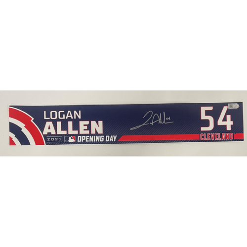 Photo of Game Used Locker Name Plate - Opening Day 4/5/2021 - Logan Allen #54 - Autographed