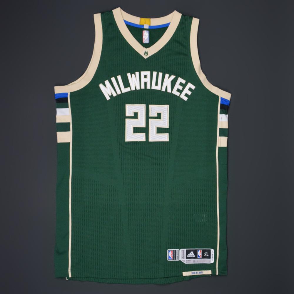 2ed6df5bd843 Khris Middleton - Milwaukee Bucks - Game-Worn Green Road Jersey - 2015-16