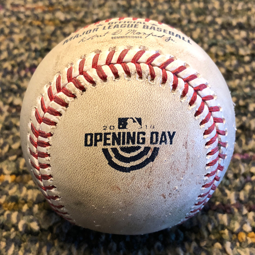 Photo of 2018 San Francisco Giants - Game-Used Baseball - Opening Day - Ty Blach to Kyle Seager (also Mitch Haniger Groundout)