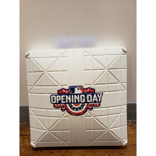 Photo of Game-Used Opening Day Base: Atlanta Braves at New York Mets - 3rd Base Used in 1st Inning - 4/3/17