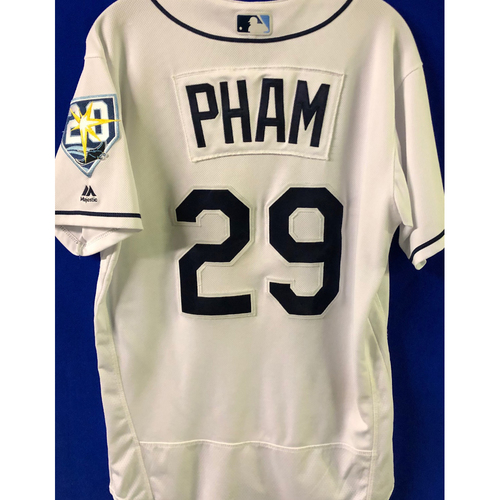 Photo of National Keratoconus Foundation Auction: Tommy Pham Game Used 20th Anniversary Hame Used Home Jersey - Worn Eight Games