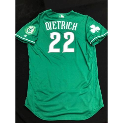 Photo of Derek Dietrich -- Team-Issued Jersey -- 2019 St. Patrick's Day
