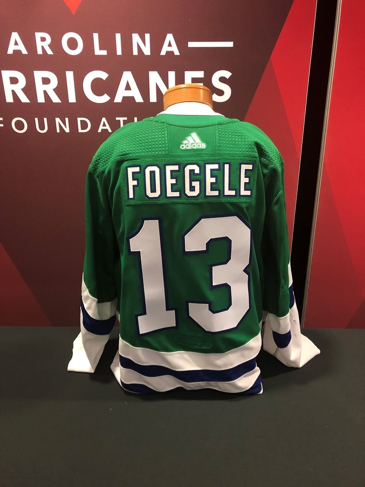 Warren Foegele #13 Autographed, Game Worn Hartford Whalers Jersey