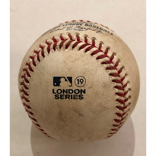 Photo of 2019 London Series - Game Used Baseball - Batter: Gary Sanchez, Pitcher : Marcus Walden, 2-RBI Single,  New York Yankees vs Boston Red Sox - 6/30/2019
