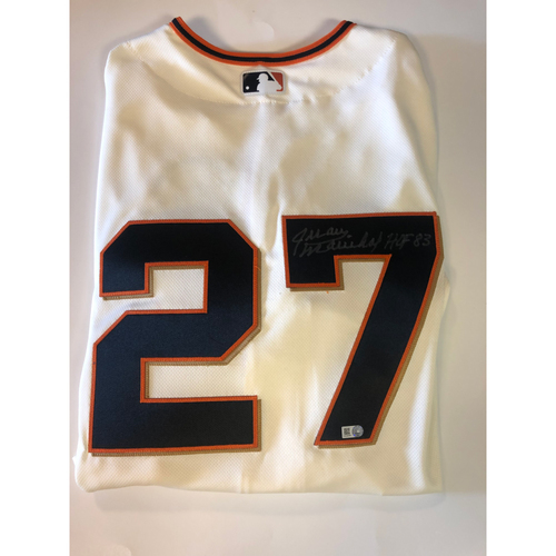 "Photo of Juan Marichal Autographed ""HOF 83"" Cream Giants Jersey"