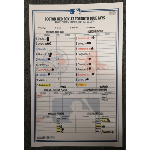 Photo of 2020 Toronto Blue Jays Spring Training Game-Used Lineup Card (March) - PRESALE: Choose your Game Date!