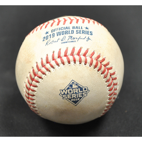 Photo of Game-Used Baseball - 2019 World Series - Washington Nationals vs. Houston Astros - Batter - Alex Bregman/Yuli Gurriel, Pitcher - Anibal Sanchez - Top 5 - Lineout to LF/Single to 1B Deflected by Sanchez - Game 3 - 10/25/2019