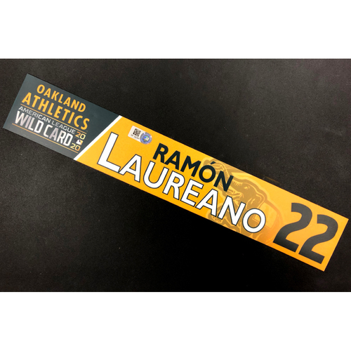 Photo of Game-Used 2020 AL Wild Card Locker Nameplate - Ramon Laureano