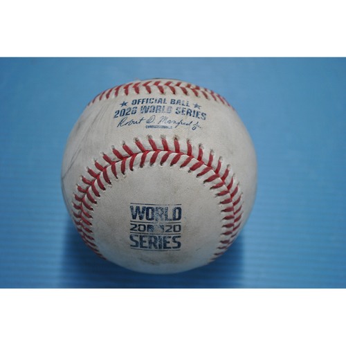 Photo of Game-Used Baseball - 2020 World Series - Los Angeles Dodgers vs. Tampa Bay Rays - Game 4 - Pitcher: Diego Castillo, Batters: Will Smith (Walk), Cody Bellinger (Foul) - Top 6