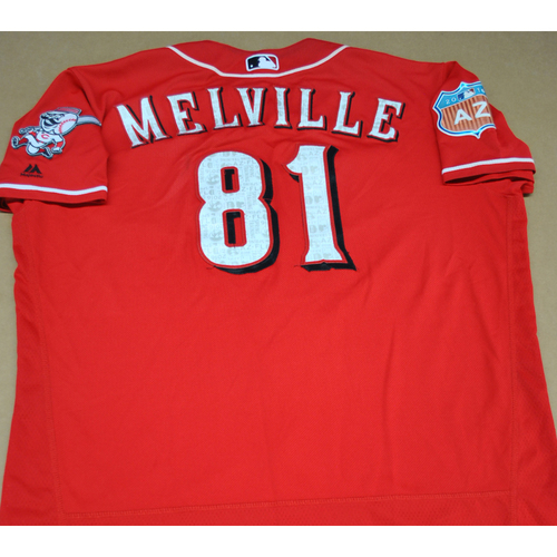 Photo of Game-Used 2016 Spring Training Jersey - Time Melville - Size 50 - Cincinnati Reds