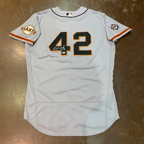 Photo of 2021 Autographed Game Used Jackie Robinson 42 Day Road Jersey worn by #9 (42) Brandon Belt on 4/16 @ MIA - PH 0-1, BB - Size 48
