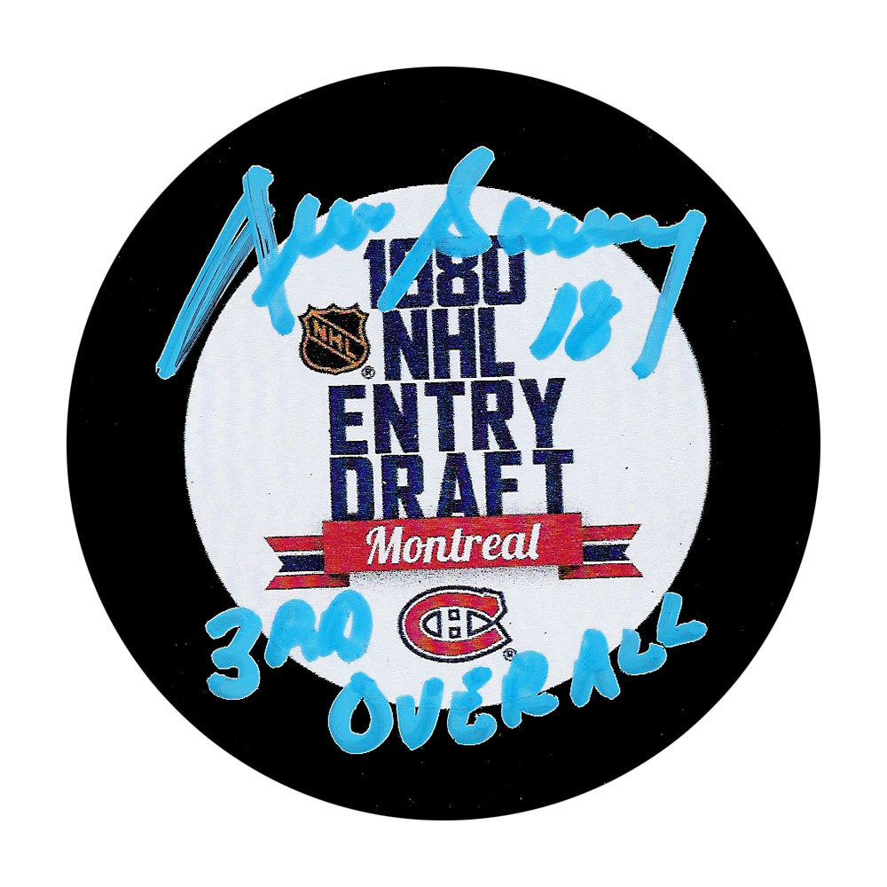 Denis Savard Autographed 1980 NHL Entry Draft Puck w/3RD OVERALL Inscription