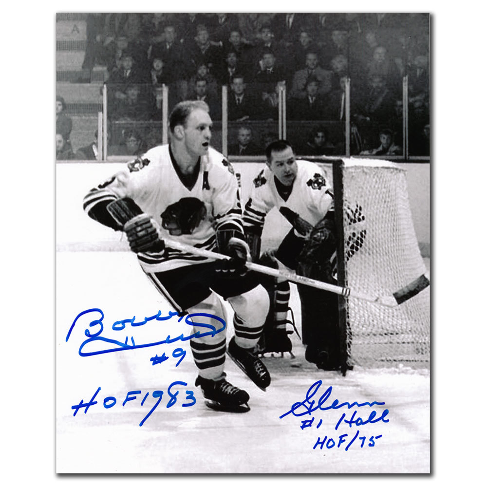 Bobby Hull & Glenn Hall Chicago Blackhawks B&W Dual Autographed 8x10