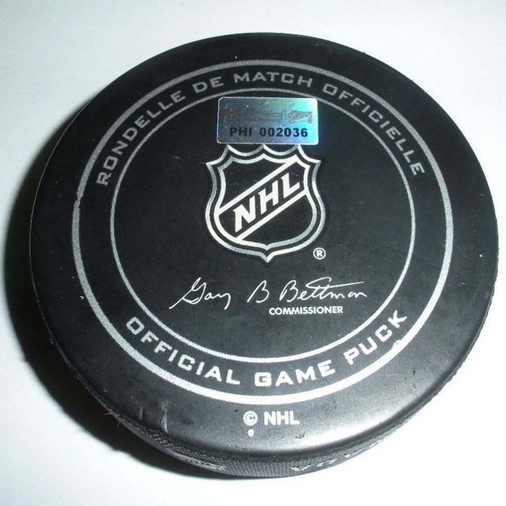 Mike Green - Washington Capitals - Goal Puck - March 31, 2013 (Flyers Logo)