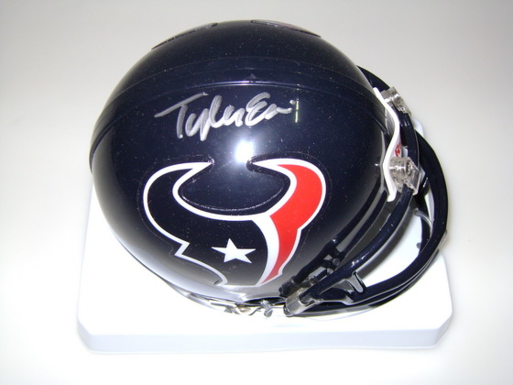 NFL - TEXANS TYLER ERVIN SIGNED TEXANS MINI HELMET