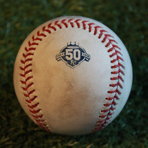 Photo of Game-Used Baseball: Gregorio Petit 109th Career Hit (MIN @ KC - 9/14/18)
