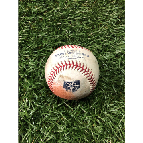 20th Anniversary Game Used Baseball: Yonny Chirinos strikes out Miguel Andujar - September 26, 2018 v NYY