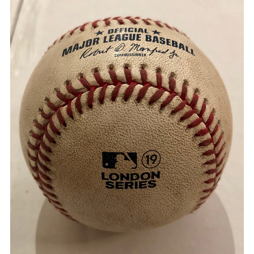 Photo of 2019 London Series - Game Used Baseball - Batter: Brock Holt, Pitcher : Masahiro Tanaka, RBI Single,  New York Yankees vs Boston Red Sox - 6/29/2019