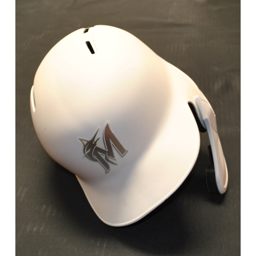"Photo of Ryne ""STANNY"" Stanek Miami Marlins Team-Issued 2019 Players' Weekend Helmet"