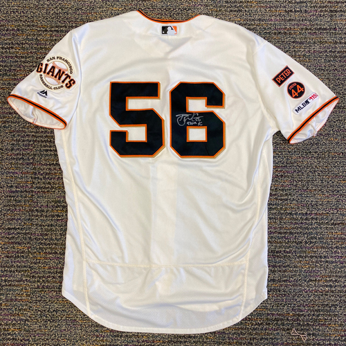 2019 Game Used & Autographed Home Cream Jersey worn by #56 Tony Watson & Inscribed