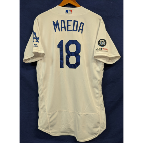 Photo of Kenta Maeda Game Used Home Jersey from Last Home Game of 2019