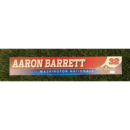 Photo of Game-Used Aaron Barrett 2019 Postseason Locker Tag