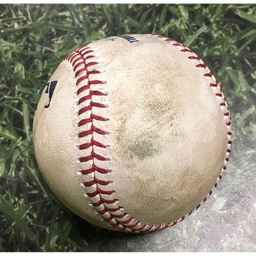 Photo of Game-Used Baseball MIA@MIL 06/04/19 - Chase Anderson - Curtis Granderson: Lineout
