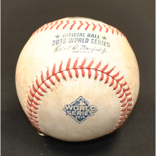 Photo of Game-Used Baseball - 2019 World Series - Washington Nationals vs. Houston Astros - Batter - Adam Eaton, Pitcher - Brad Peacock - Bottom 8 - Groundout to 3rd - Game 4 - 10/26/2019