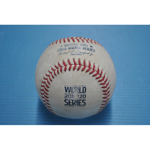 Photo of Game-Used Baseball - 2020 World Series - Los Angeles Dodgers vs. Tampa Bay Rays - Game 5 - Pitcher: Clayton Kershaw, Batter: Kevin Kiermaier (Single) - Bot 3