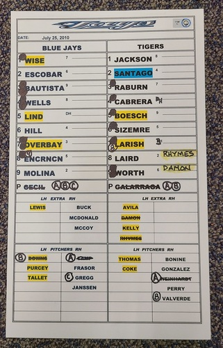 Photo of Authenticated Game Used Lineup Card (July 25, 2010 at DET - Game 1): Lyle Overbay 9th Inning HR was the Difference