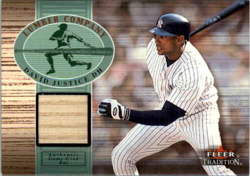 Photo of 2002 Fleer Tradition Lumber Company Game Bat #15 David Justice