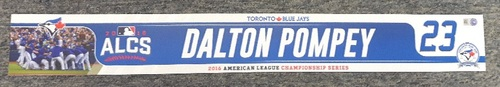 Photo of Authenticated Game Used Locker Tag - #23 Dalton Pompey (2016 ALCS)