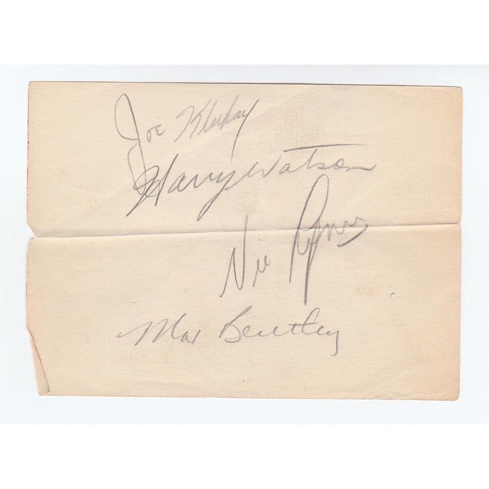 Toronto Maple Leafs 1940s Legends Multi-Signed Index Sheet - Bentley, Watson, Klukay & Lynn
