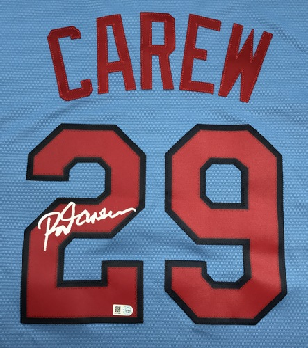 Photo of Rod Carew Autographed Blue Twins Jersey