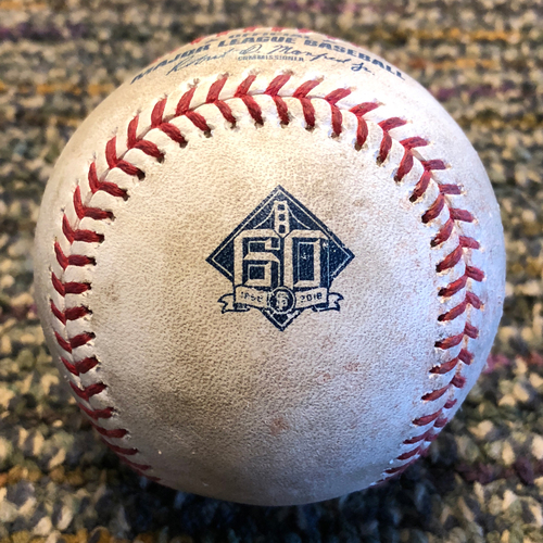 Photo of 2018 San Francisco Giants - Game-Used Baseball - 60th Anniversary - Evan Longoria Double and Buster Posey Single off Robbie Ray (April 11, 2018)