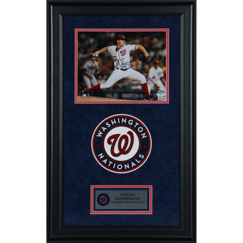 "Photo of Jordan Zimmermann Washington Nationals Deluxe Framed Autographed 8"" x 10"" Photo"