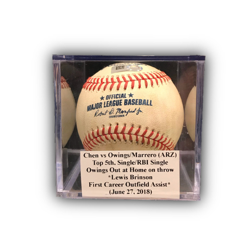 Photo of Game-Used Baseball: Chen vs Owings/Marrero (ARZ), Top 5th, Single/RBI Single (June 27, 2018) *Lewis Brinson First Career Outfield Assist*