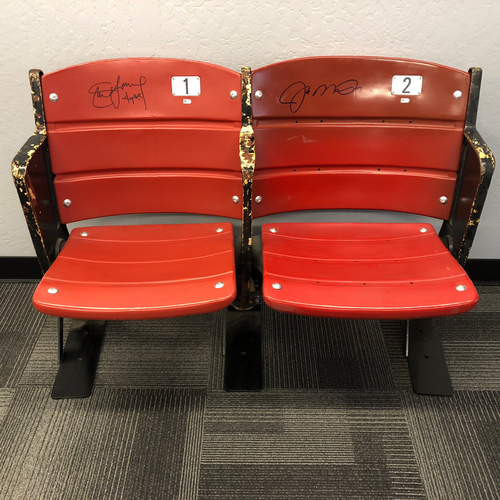 Photo of Candlestick Park Stadium Artifact - Pair of Candlestick Park Seats Signed by #16 Joe Montana & #8 Steve Young - LOCAL PICK UP ONLY