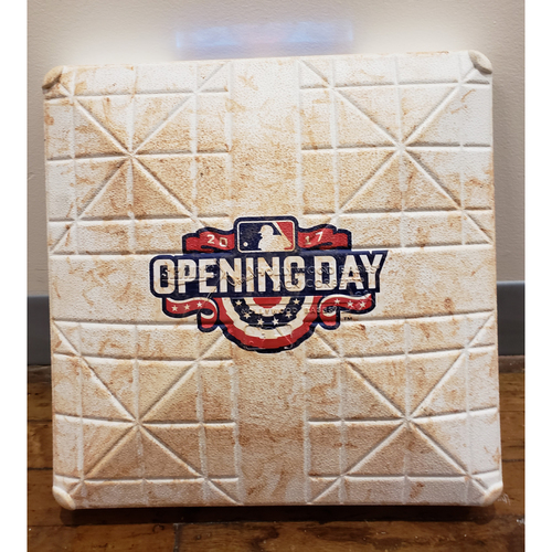 Photo of Game-Used Opening Day Base: Seattle Mariners at Los Angeles Angels - 1st Base Used in Innings 6-9 - 4/7/17