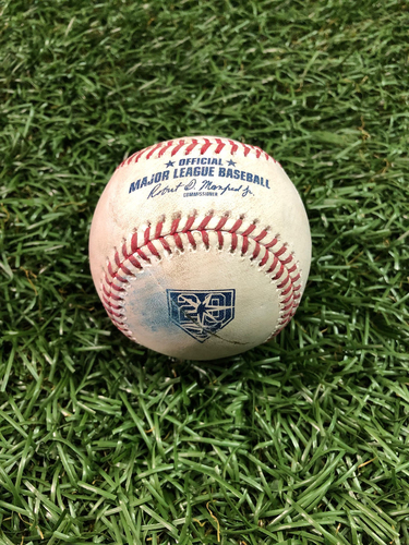 20th Anniversary Game Used Baseball: Rowdy Tellez strikeout and Teoscar Hernandez fould ball off Diego Castillo - September 29, 2018 v TOR