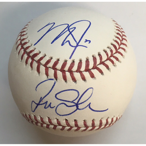 Mike Trout and Tim Salmon Dual Autographed Baseball