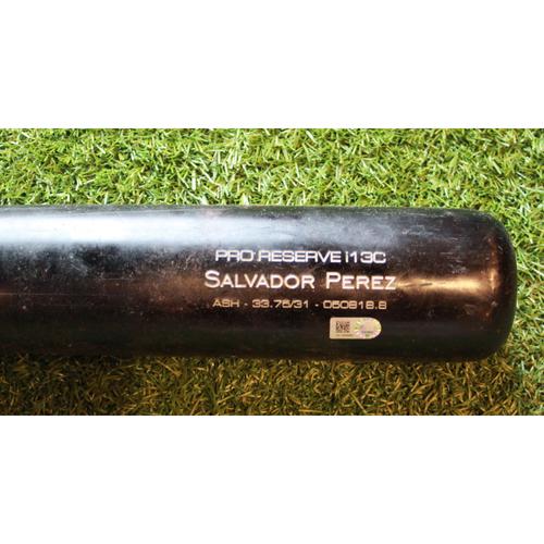 Game-Used Broken Bat: Salvador Perez Line Out (OAK @ KC - 6/1/18)