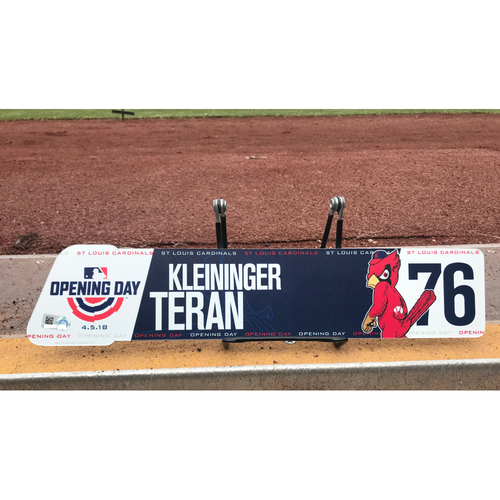 Photo of Cardinals Authentics: Game-Used Kleininger Teran 2018 Opening Day Locker Tag