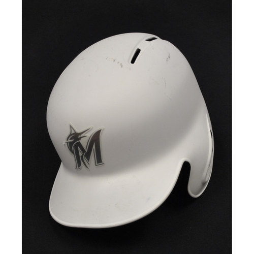 Photo of Sandy Alcantara Miami Marlins Team-Issued 2019 Players' Weekend Helmet
