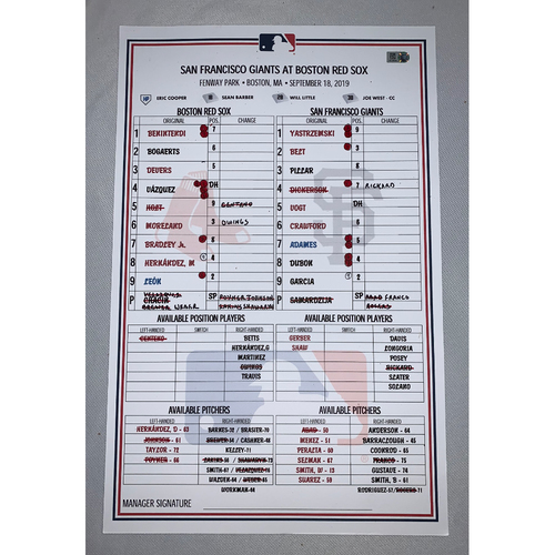 Photo of San Francisco Giants vs Boston Red Sox September 18, 2019 Game Used Lineup Card - Bruce Bochy 2000 Wins as a Manager