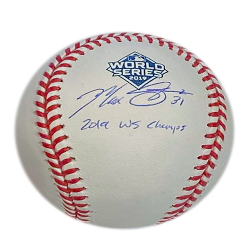 "Photo of Max Scherzer ""2019 WS Champs"" Autographed 2019 World Series Logo Baseball"
