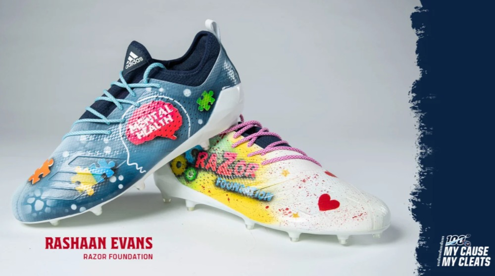 My Cause My Cleats -  Titans Rashaan Evans  custom cleats - supporting  Razor Foundation